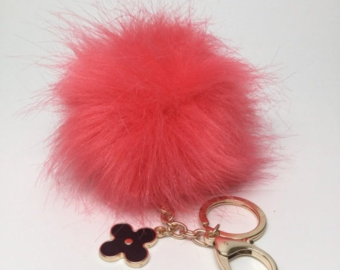 232ed8bd4c57 Faux Fox Fur Pom Pom bag Keyring Hot Couture Novelty keychain pom pom fake
