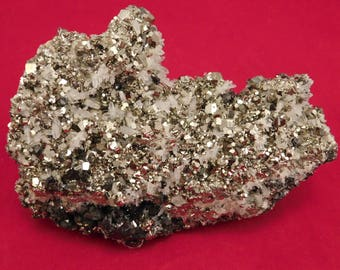 Hundreds! of PERFECT Little Rhombic Pyrite Crystals and NICE Quartz Peru 437gr