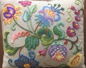 Gorgeous embroidered floral pillow