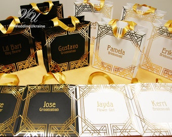 Gatsby Theme Gift Bags for Bridesmaids and Groomsman - Personalized Gifts bags with gold satin ribbon handles - Elegant Gatsby Style Party