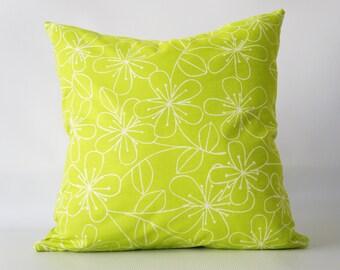 Lime Green Pillow Cover, green pillow cover, floral pillow cover, green floral pillow cover, green decorative pillow, toss pillow cover