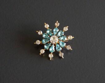 Vintage Starburst Blue Rhinestone Brooch// Vintage Jewellery.