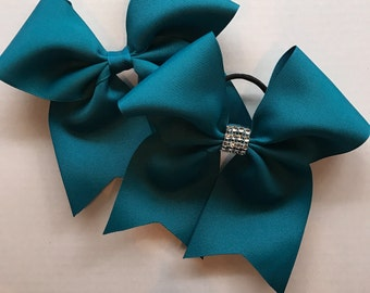 Teal Hair Bows/Softball Bows/Teal Softball Hair Bows/Teal Cheer Bows/Teal Soccer Bows/Teal Volleyball Bows/7 inch solid color hair