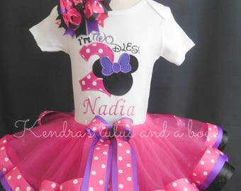 """Minnie mouse Hot Pink and purple """"I'm twodles ribbon birthday tutu"""