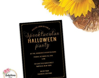 Spooktacular Halloween Party Invitation Printable Black Orange Costume Glitter