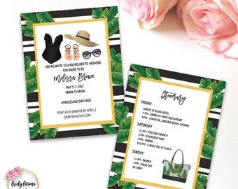 Black and White Stripe - Bachelorette Party Weekend - Girl's Trip - Beach Theme - Bachelorette Itinerary - Printable Invitation