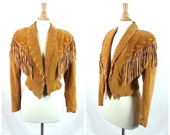 80's Tan Suede Fringe Jacket Medium 1980's Leather