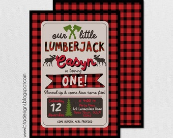 Lumberjack Birthday Party Invitation 1 With or Without Photo, Customized, Digital File