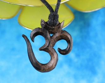 Hand Carved Wood Om Necklace - Areng Wood necklace carved Om - Necklace Hand crafted wood - Om Yoga Necklace - Yoga Om Jewelry- U017