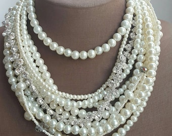 Multistrand pearl crystal statement necklace, glass pearl choker necklace, wedding jewelry, boho bridal necklace, chunky pearl necklace