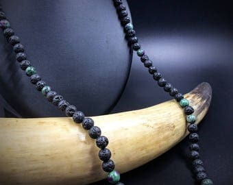 Chapelet with lava and zoisite beads