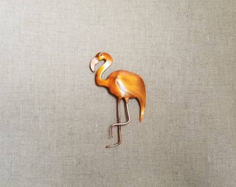 Flame painted copper Flamingo, pin