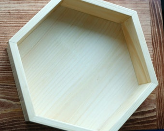 Hexagon Wood Tray Make Up Holder Crystal Holder Multi Purpose Tray