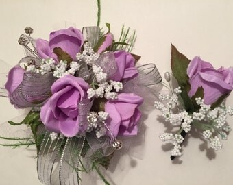 Homecoming Corsage, Prom Corsage, Lavender and Silver Silk Prom Wrist Corsage