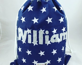 Personalised PE bag, Navy Swim Bag, Children's Swim Bag, School Bag, Nursery Bag, Drawstring bag, Named bag, Children's named bag, Shoe bag,