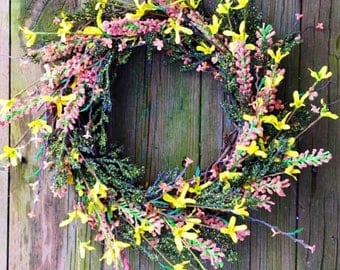 Summer Wreath, Summer Door Wreath, Wreath For Door, Rustic Wreath, Spring Door Wreath, Wedding Wreath, Front Door Wreath