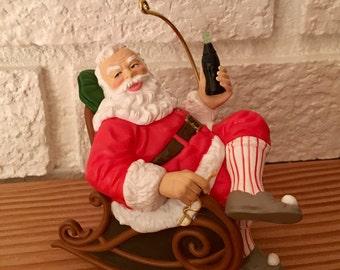 "1997 Hallmark KEEPSAKE ORNAMENT Taking a Break ""Coca-Cola"" Santa"