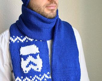Hand knitted unisex ''Star wars'' hat & scarf set