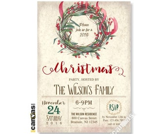 Christmas Party Invitation, Christmas Wreath, Christmas Invitation, Holiday Open House Party, Holiday Party, Rustic Festive Holiday 68