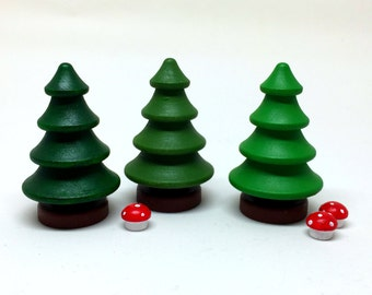 Wooden tree set three green trees for pretend play