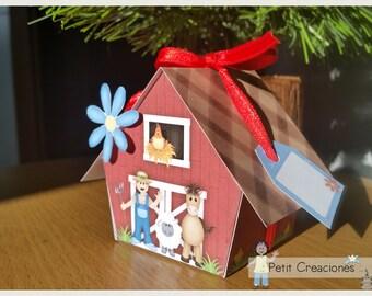 "PRINTABLE GIFT (or treats) BOX ""The farm"" (digital template)"