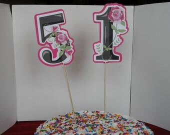 Birthday  Cake   Toppers --Woman's--  Ladies--Anniversary--Retirement-- Pink--Flowers------Choose 2 numbers!