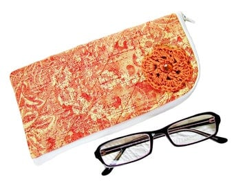 Handmade orange sunglasses case, glasses case, eyeglasses case, reading glasses case, crochet hook case