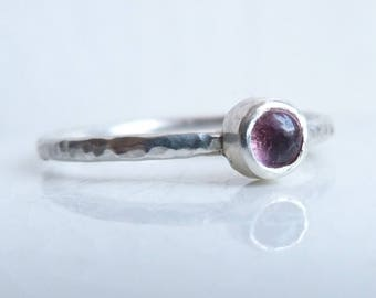 Sterling Silver Pink Tourmaline Stacking RIng with Hammered band, size N.