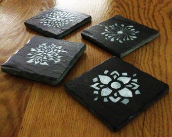 """Set of 4 Unique Hand-Painted Slate Beverage Coasters. 4""""W x 4""""H."""