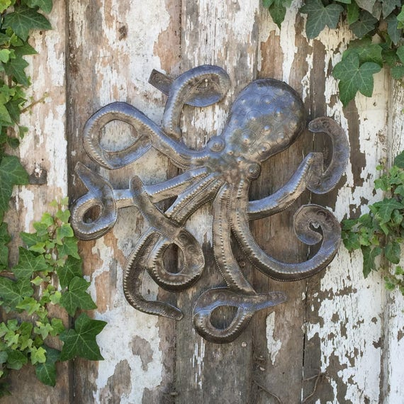"""Octopus Sculpture, Recycled Metal Ocean Wall Art, Haitian Art indoor outdoor 14""""X 14"""""""