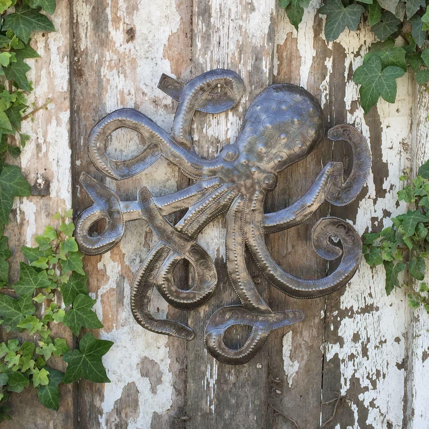 octopus sculpture recycled metal ocean wall art haitian art indoor outdoor 14x 14. Black Bedroom Furniture Sets. Home Design Ideas