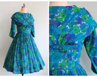 Vintage 1950's Blue and Green Floral Double Layered Dress   Size Small