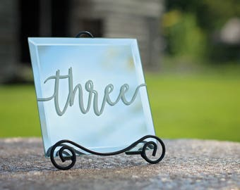 Table Numbers | Mirror Table Numbers | Wedding Decor | Wedding Table Numbers | Wedding Table Decorations | Table Decor | Wedding Signs