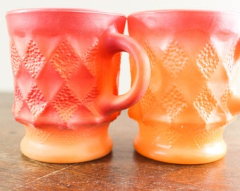 Fire King Anchor Hocking Mugs, Vintage Orange Cubist Coffee Cups - Retro Style - Oven Proof