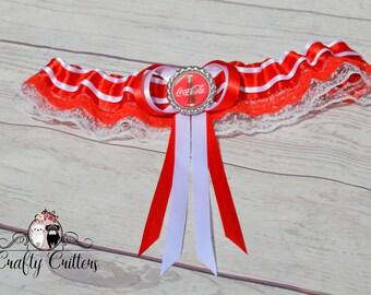 Coca Cola Wedding Garter - Custom Garter - Traditional Garter - Bridal Garter - Satin Garter - Lace Garter - Novelty Garter