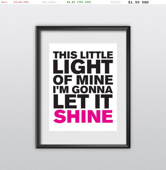 75% off Matthew 5:16 Nursery Decor This Little Light of Mine Pink Gift Idea Printable PDF Christian Bible Verse (T03)