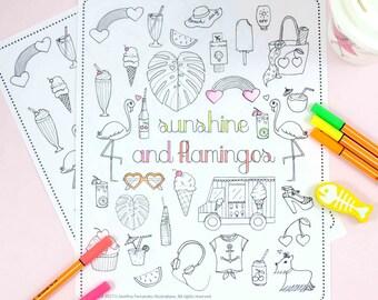 """Printable coloring page """"Sunshine&flamingos"""",adult coloring page,printable colouring page,coloring pages for adults,adult coloring download"""