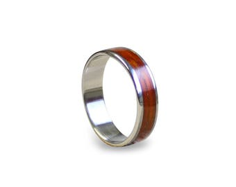 Stainless Steel Ring with Mahogany Wood Inlay, Mahogany Wooden Ring with Stainless Steel Inner, Wooden Band, Wood Ring, Mens Wedding Band