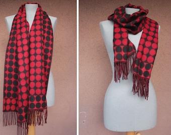 SALE! Vintage Polka Dot Fleece Scarf - Black and Red Swiss Dot Fleece Scarf