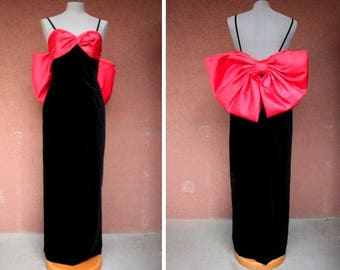 1980's Evening Over the Top Bow Dress