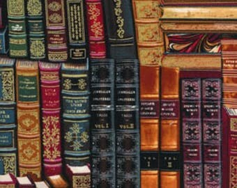 Classic Books Fabric Library Book Shelf Shelves Timeless Treasures Cotton Fabric
