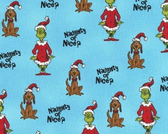How the Grinch Stole Christmas Fabric Dr Seuss Blue Naughty Or Nice Cotton Robert Kaufman Fabric