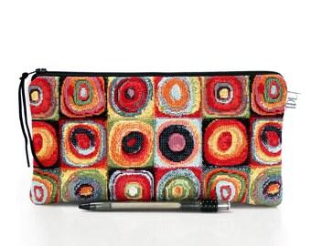 Retro pencil case, Squares Makeup bag, Art Deco pen bag, Upholstery pouch, Teacher gift, School supplies, Cosmetic case, Girlfriend gift,