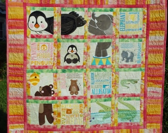 Animal Adventure Baby Quilt or Wall Hanging
