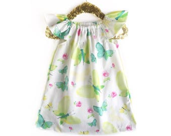 Baby Gown, Floral Baby Gown, Butterfly Dress, Summer Dress, Floral Dress, Toddler Dress, Baby Dress, Baby Sundress,  Fall Girls Outfit