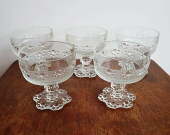 Set of five 1960's Beaded Pattern Glasses - made in Italy