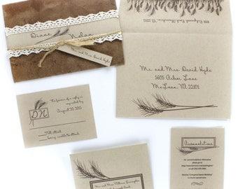 Wheat Wedding Invitations, Wedding Invitation Set, Rustic Invitations, Wedding Invitations, Wheat Invitation, Farm Wedding | RUSTIC WHEAT