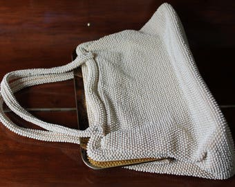 Large Ivory Plastic Bead Lumured  Purse, Top Handle Two Sided 50s Cream Purse Gold Frame