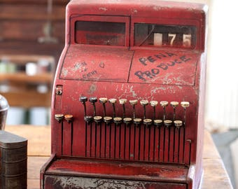 1950s National Cash Register - Working Condition - Shabby Chic Red Patina - Pick up Only or Local Delivery - No Shipping