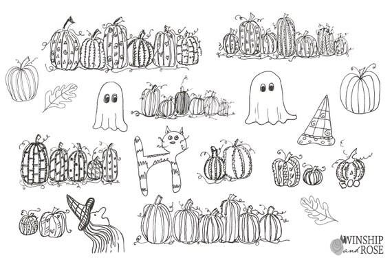 Fall pumpkin doodles hand drawn halloween doodle set for